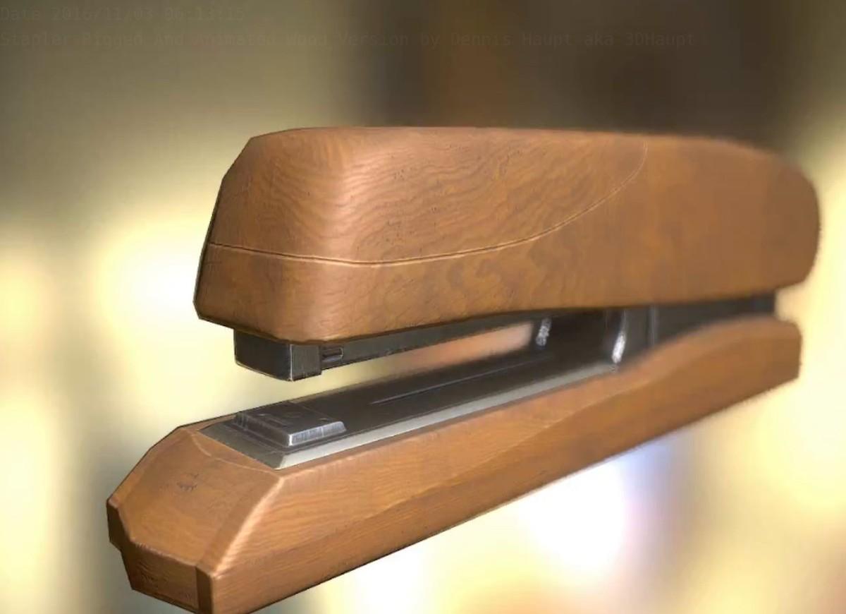 3d stapler rigged wood