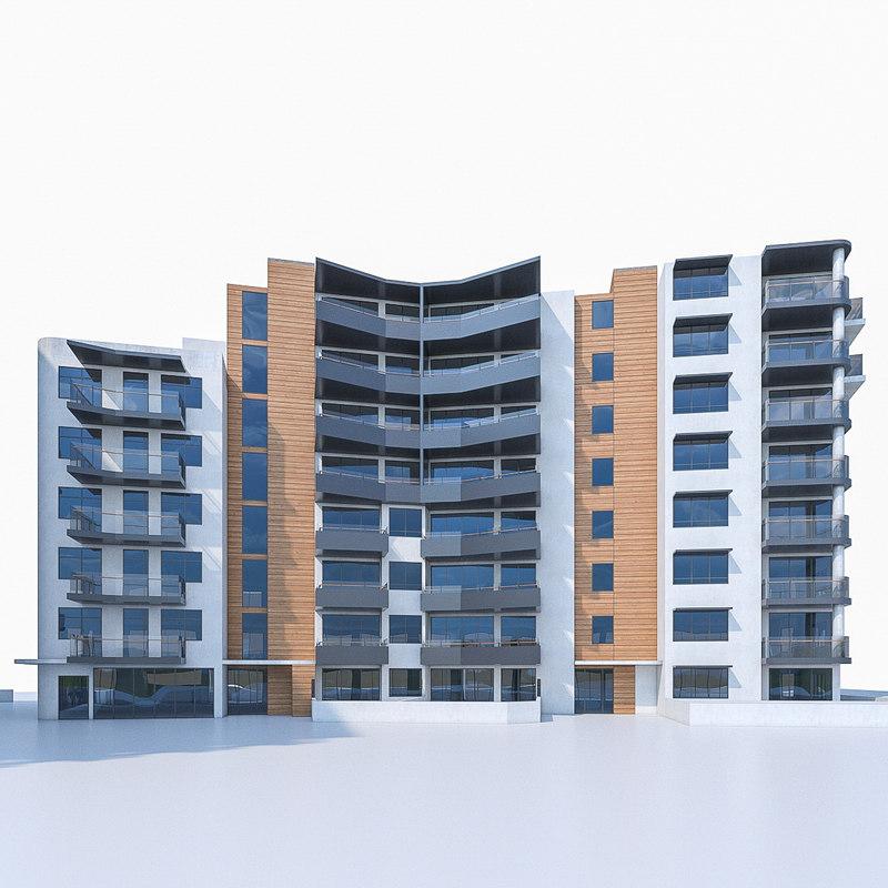 3d model residential apartment buildings