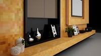 3d 3ds interior television wall