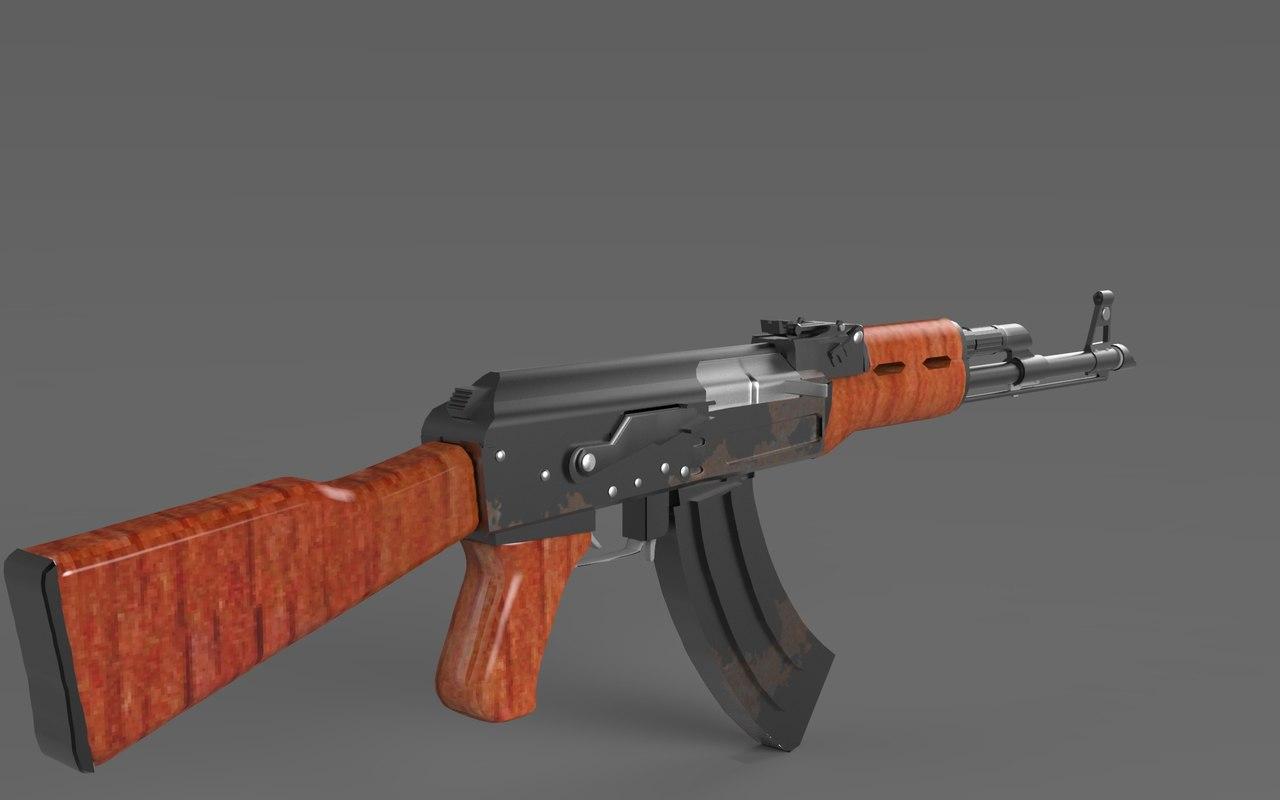 ak47 gun 3d ma