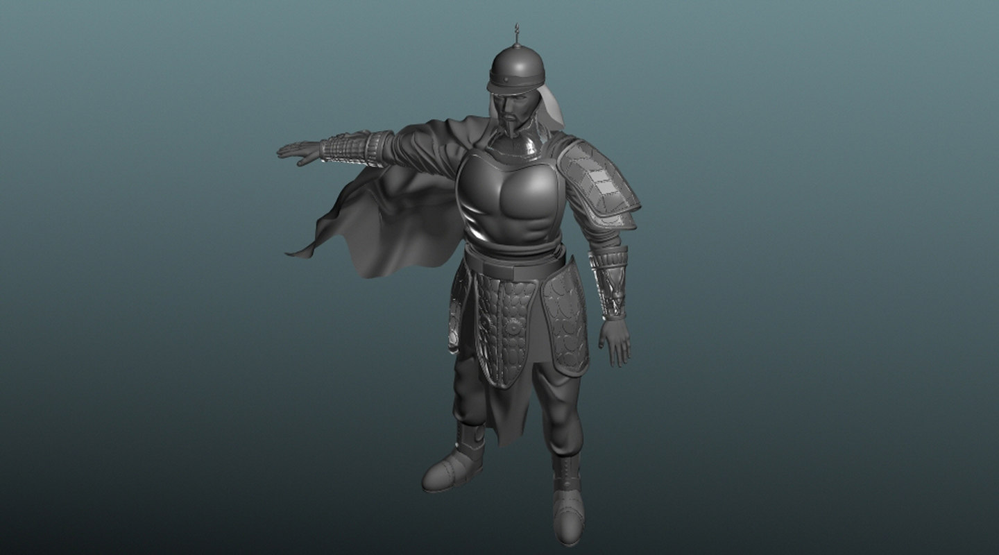 3d middle age asian soldier