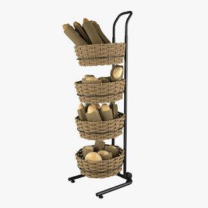 3d basket floor stand model