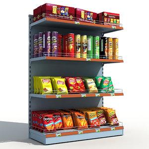 supermarket shelves chips 3d max
