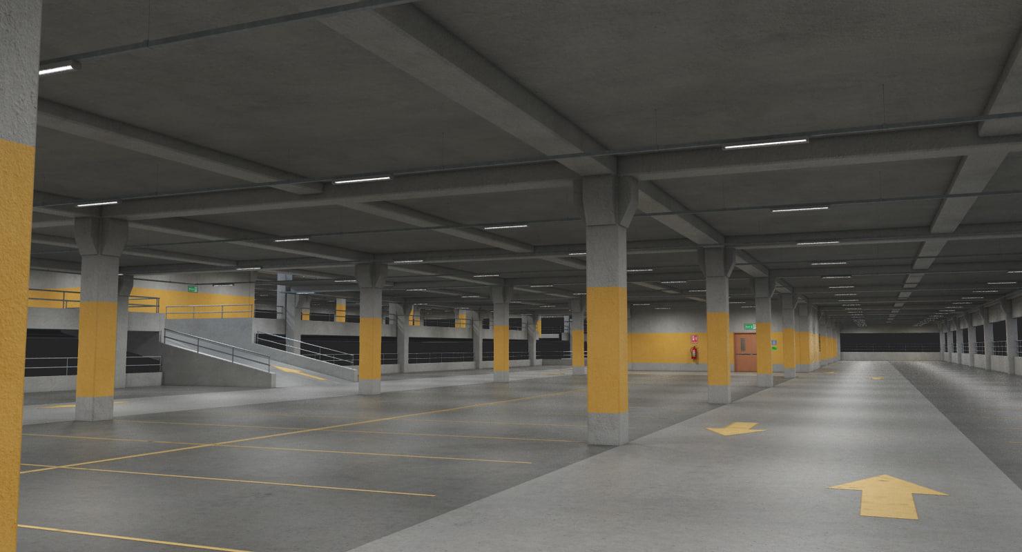 3d stackable parking garage - model