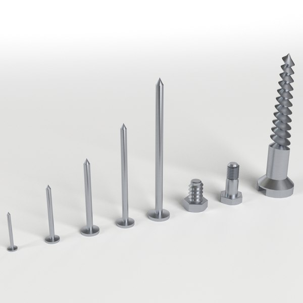 3d iron nail screws set model
