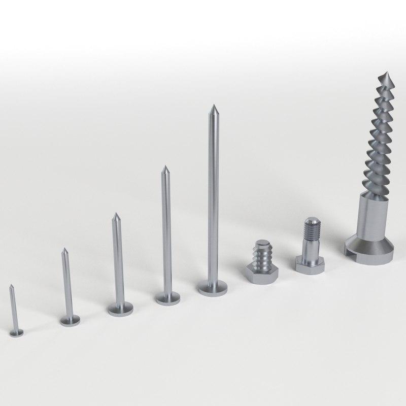 3d iron nail screws set model