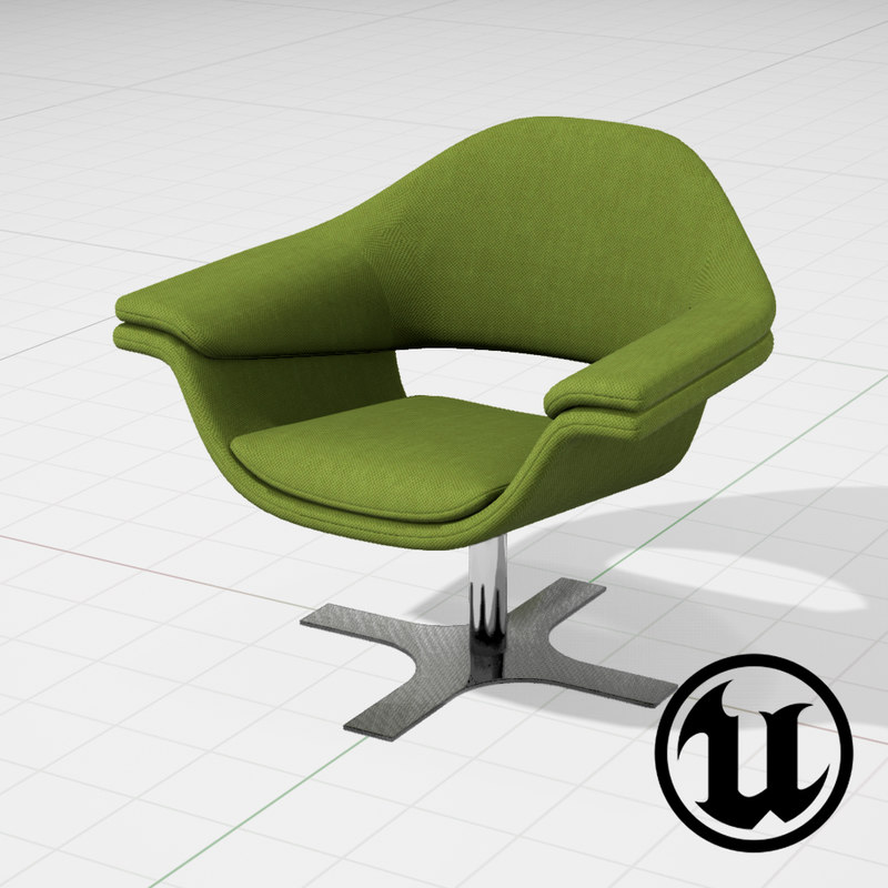 3d model unreal molteni hi-cove chair