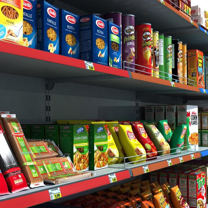 3d model supermarket shelves pack pasta