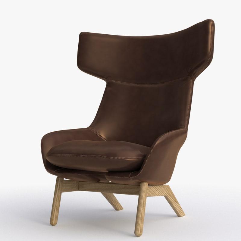 3d model artifort kalm lounge chair