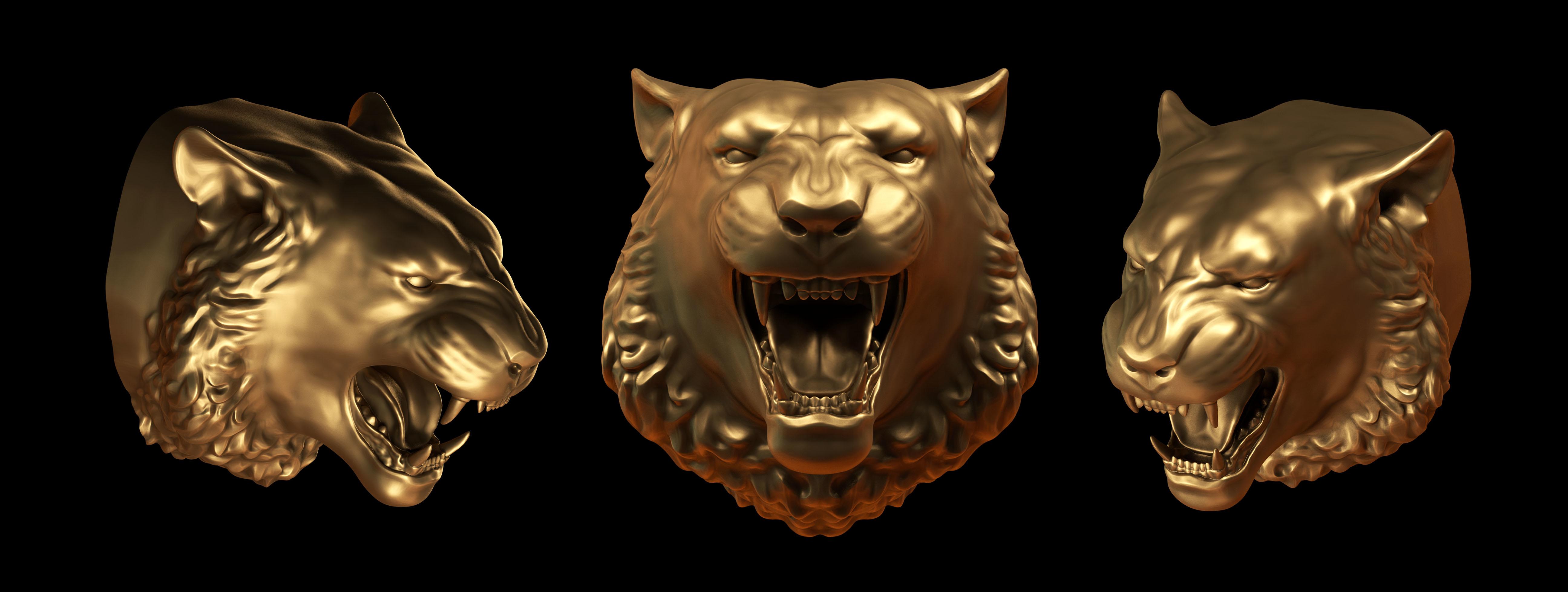 tiger head 3d obj