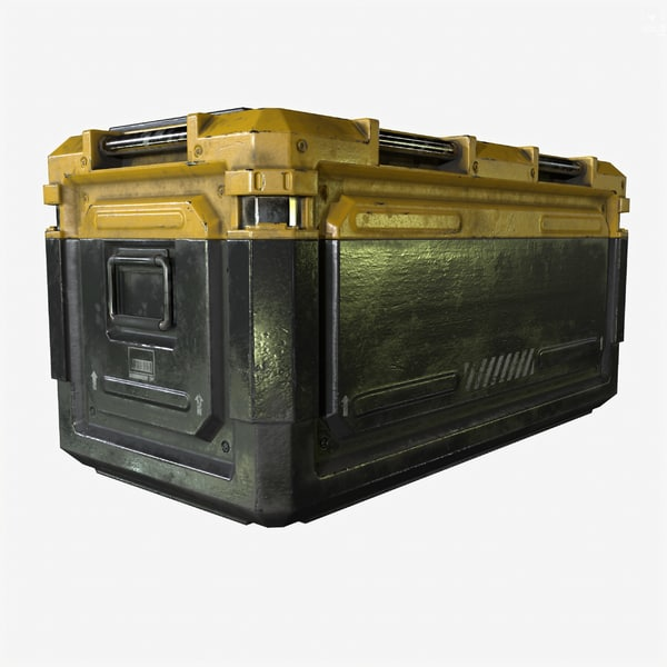 3d ready sci-fi industrial crate