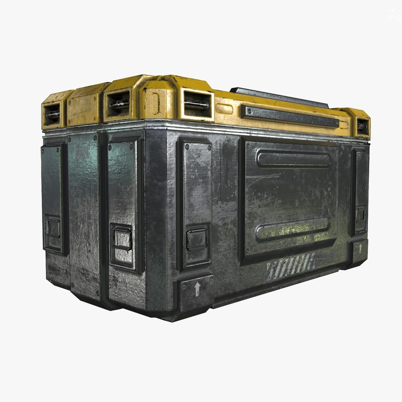 3d model of ready sci-fi industrial crate