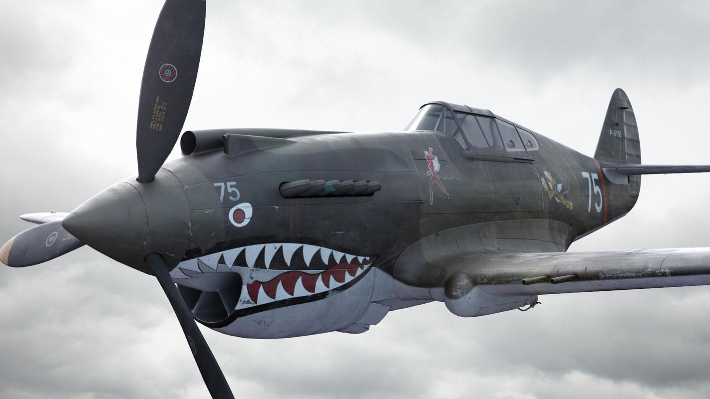 3d aircraft p-40 usa fighter model