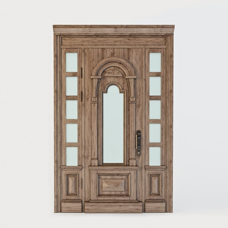 ethnic wooden door 3d model