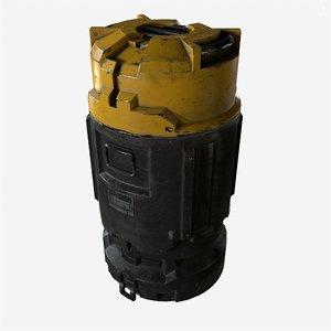 3d model of ready sci-fi industrial crate barrel