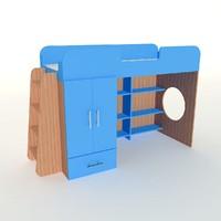 s bunk bed 3d model