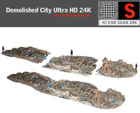 3d model demolished city ultra hd