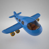 3d model stylized cartoon plane