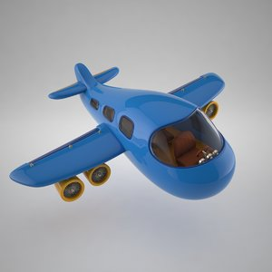 3d model stylized cartoon plane