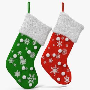 3d christmas socks 2 fur model