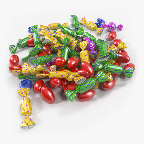 3d colorful candy pile