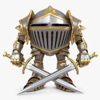 3d knight character rigged