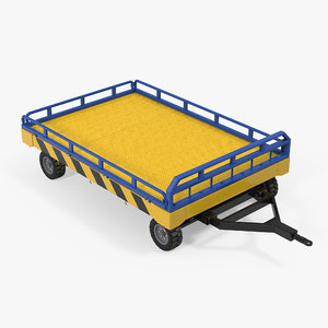 3d model airport transport trailer bed