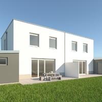 modern double house 3d model