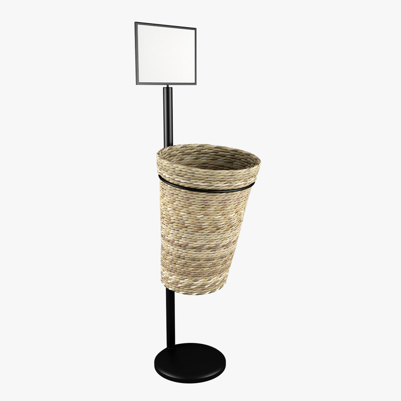 3d oval willow basket model