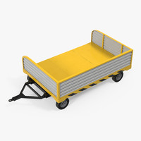 3d airport luggage trolley rigged model