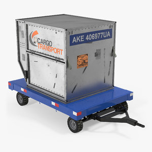 3d airport baggage trailer container