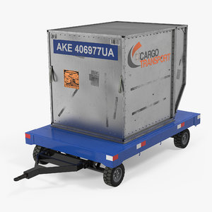 3d airport baggage trailer container model
