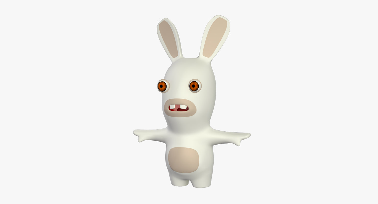rabbid cartoon 3d model