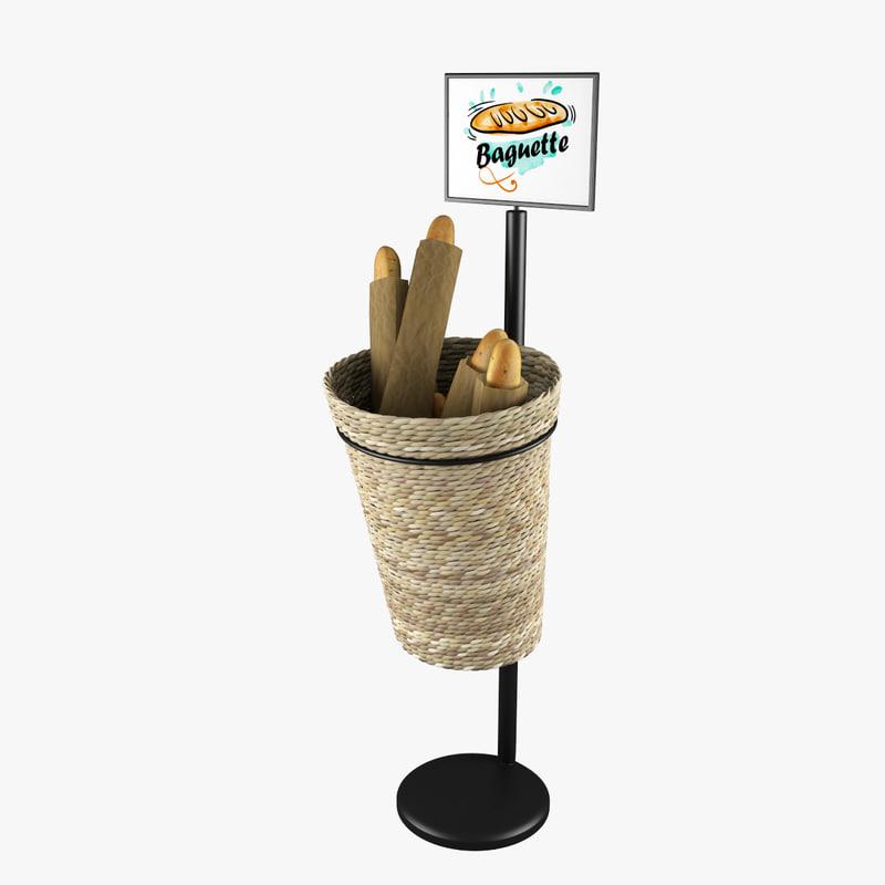 3d model oval willow basket