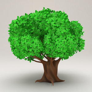 stylized tree cartoon obj