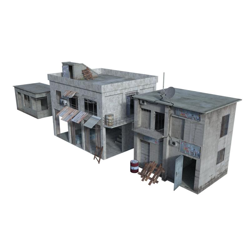 arab house interior exterior 3d model