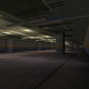 3d model of garage underground parking