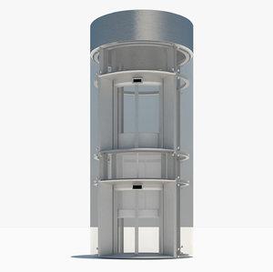 3d circular glass elevator