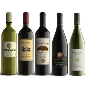 3d wine bottles