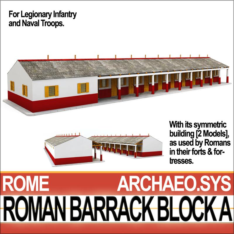 ancient roman barrack block 3d model