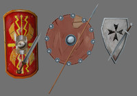 3d 3 sets medival shield model