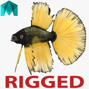 betta fish rigged 3d ma