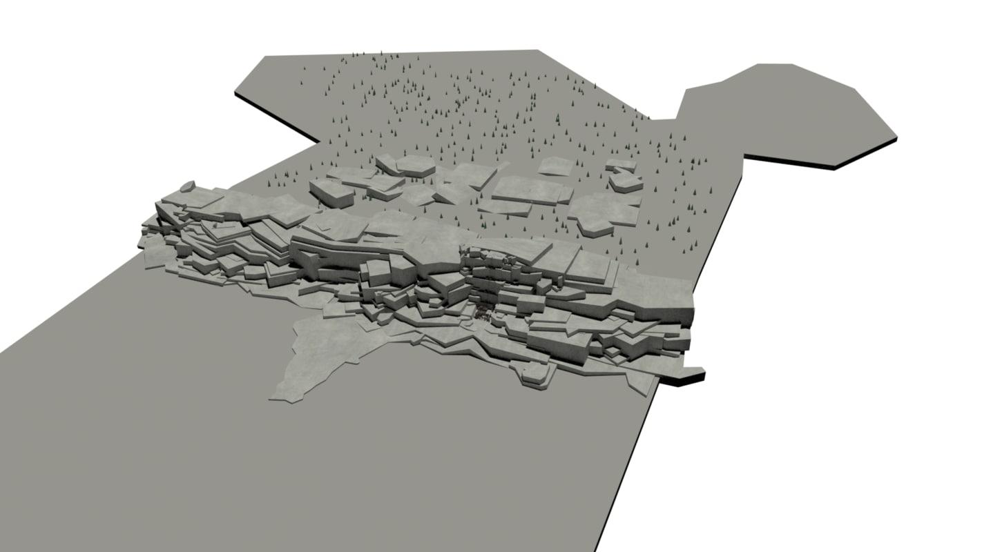 3d model wall castle