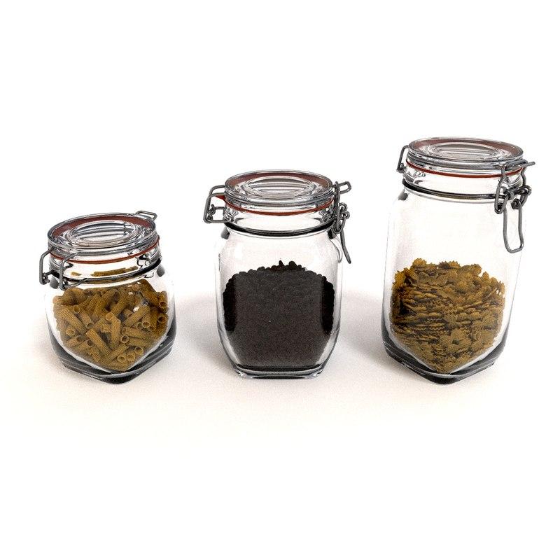 glass jars filled 3d model