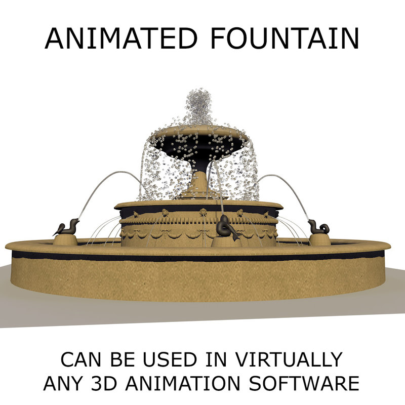 3d water fountain animations