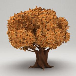stylized tree cartoon obj