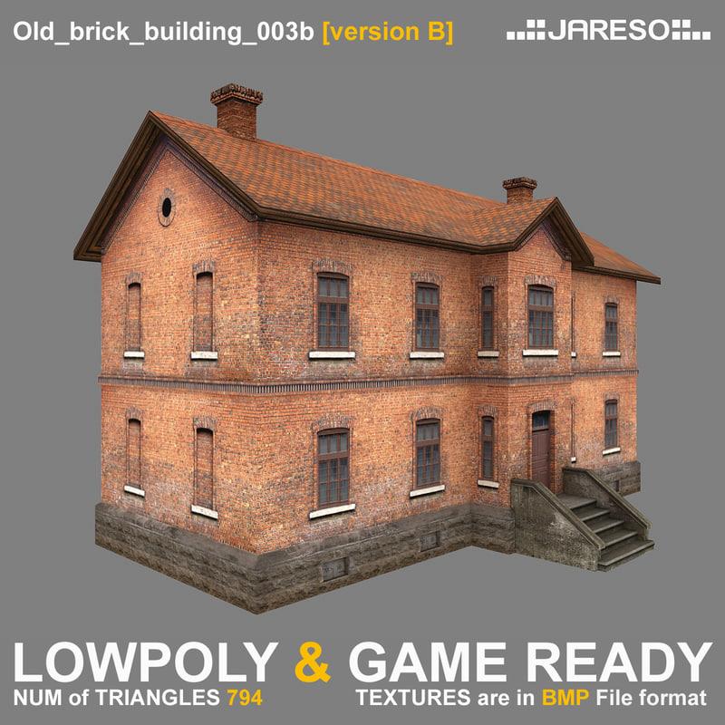 low-polygonal brick building old 3d model
