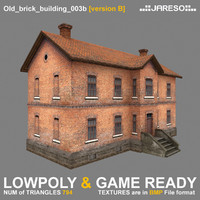 low-polygonal brick building old 3d model