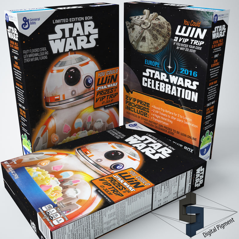 3d model star wars cereal box