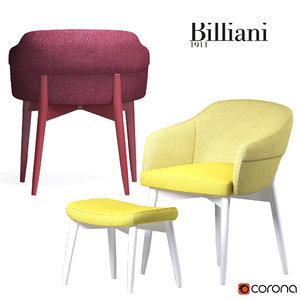 3d model spy armchair billiani